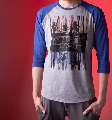 Stranger Things Inspired Upside Down Heather Grey And Indigo Raglan Baseball T-Shirt