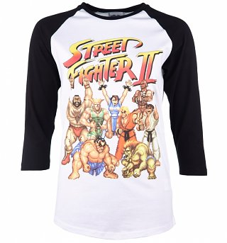 Street Fighter II Pixel Gang White And Black Raglan Baseball T-Shirt