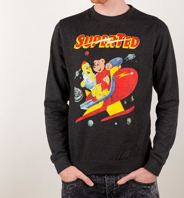 SuperTed Space Scene Black Heather Sweater