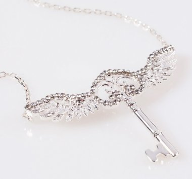 Swarovski Crystal Embellished Harry Potter Flying Key Necklace