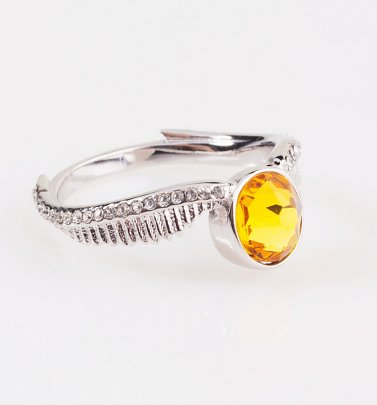 Swarovski Crystal Embellished Harry Potter Golden Snitch Ring