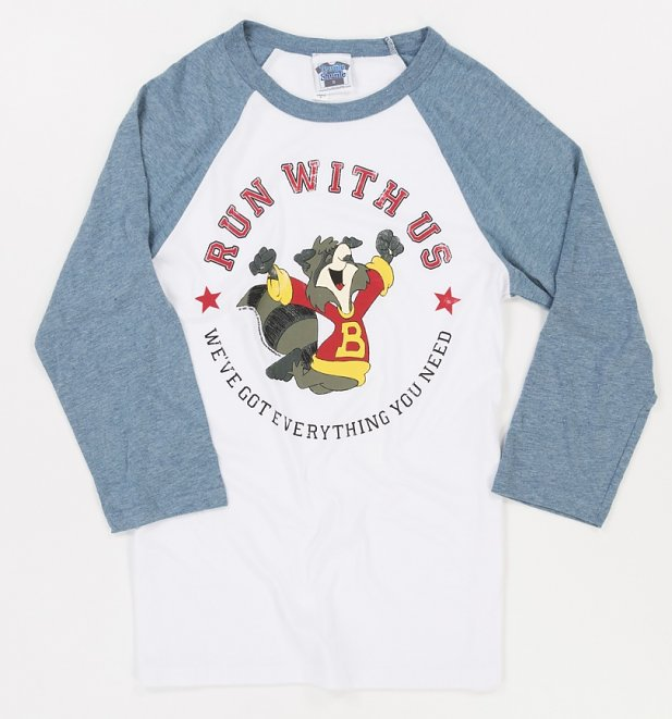 The Raccoons Run With Us Badge White And Denim Blue Raglan Baseball T-Shirt