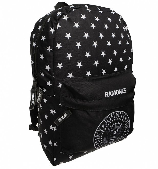 The Ramones Logo and Star Print Backpack by Rock Sax