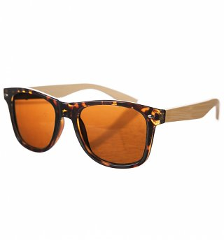 Tortoiseshell Wayfarer Sunglasses With Bamboo Arms