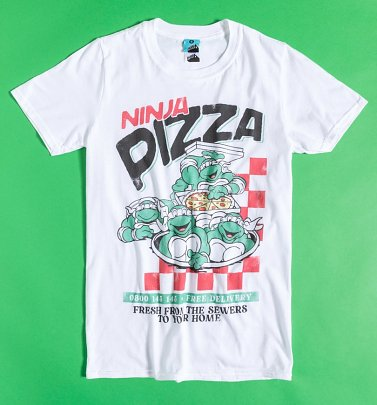 Teenage Mutant Ninja Turtles Pizza White T-Shirt