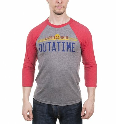 Back to the Future Outatime Heather Grey and Heather Red Raglan Baseball Tee