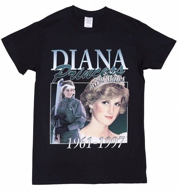 Black Princess Diana T-Shirt from Homage Tees