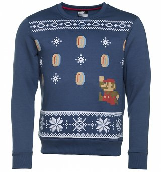Blue Nintendo Super Mario Fair Isle Christmas Sweater