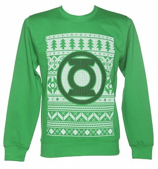 Unisex Green DC Comics Green Lantern Fair Isle Christmas Sweater