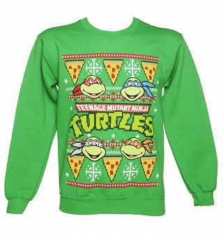 Unisex Green Teenage Mutant Ninja Turtles Fair Isle Christmas Sweater