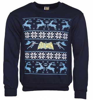 Unisex Navy Batman Logo And Reindeer DC Comics Fair Isle Christmas Sweater