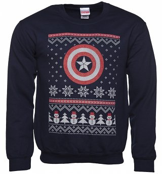 Unisex Navy Marvel Comics Captain America Fair Isle Christmas Sweater