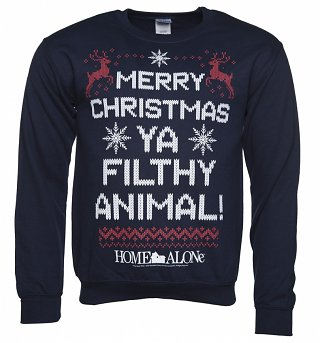 Unisex Navy Merry Christmas Ya Filthy Animal Home Alone Christmas Sweater