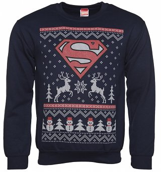 Unisex Navy Superman Fair Isle DC Comics Christmas Sweater