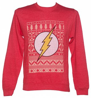 Unisex Red DC Comics Flash Fair Isle Christmas Sweater