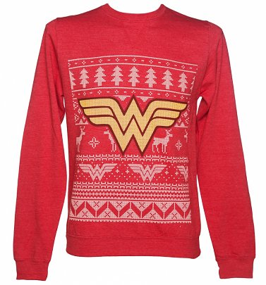 Unisex Red DC Comics Wonder Woman Fair Isle Christmas Sweater