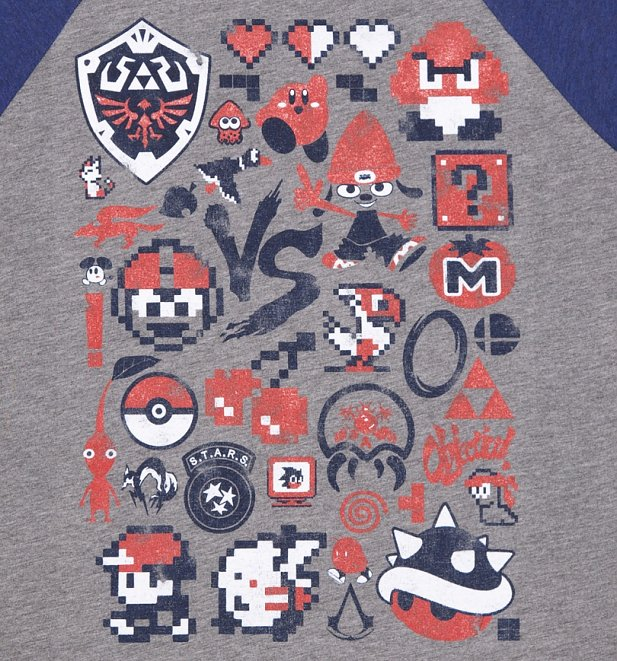 Retro Gaming Raglan Baseball T-Shirt