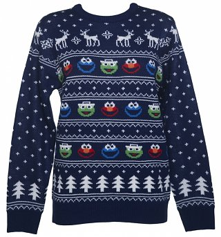 Women's Sesame Street Fair Isle Knitted Christmas Jumper