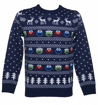 Men's Sesame Street Fair Isle Knitted Christmas Jumper