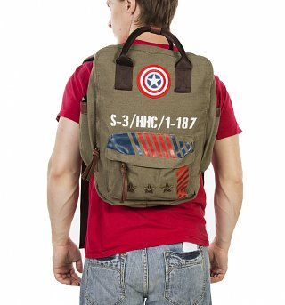 Vintage Canvas Captain America Army Backpack
