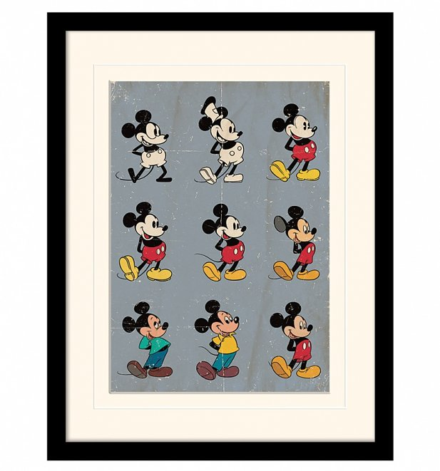 Vintage Mickey Mouse Evolution Mounted And Framed Print 30cm x 40cm