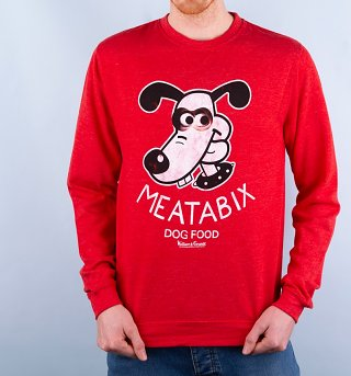 Wallace And Gromit Meatabix Dog Food Heather Red Sweater