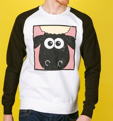 Wallace And Gromit Shaun The Sheep Face White and Black Raglan Baseball Sweater