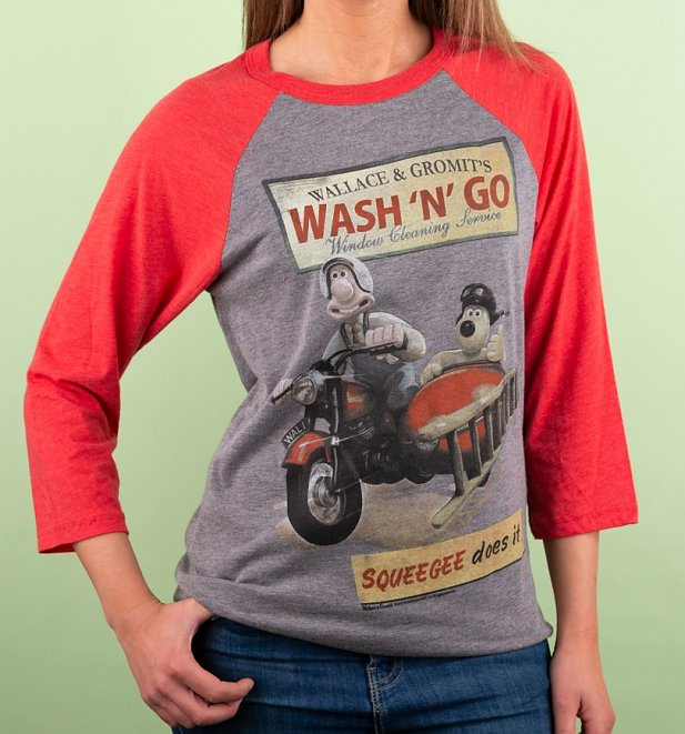 Wallace And Gromit Wash N Go Heather Grey And Red Raglan Baseball T-Shirt