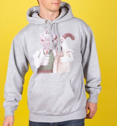 Wallace and Gromit Classic Photograph Heather Grey Hoodie