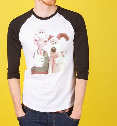 Wallace and Gromit Classic Photograph White And Black Raglan Baseball Shirt