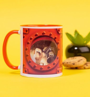 Wallace and Gromit Rocket Portholes Orange Handle Mug