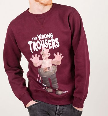 Wallace and Gromit The Wrong Trousers Maroon Sweater