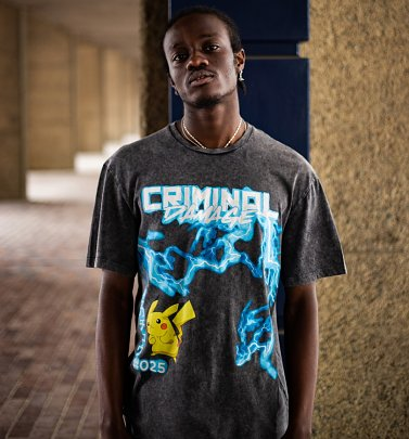 Washed Black Pokemon Pikachu Lightning T-Shirt from Criminal Damage