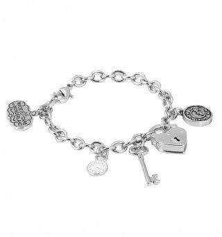 White Gold Plated Alice In Wonderland Chunky Charm Bracelet from Disney Couture