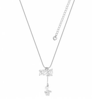 White Gold Plated Alice In Wonderland We're All Mad Here Necklace from Disney Couture