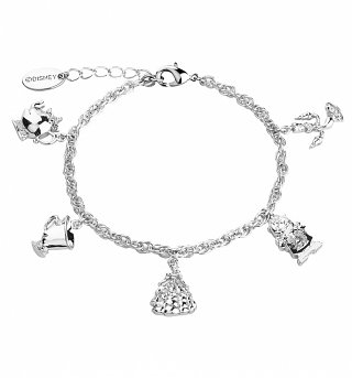 White Gold Plated Beauty & The Beast Characters Charm Bracelet from Disney by Couture Kingdom