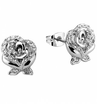White Gold Plated Beauty & The Beast Enchanted Rose Crystal Stud Earrings from Disney Couture