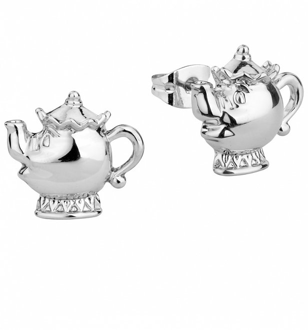White Gold Plated Beauty & The Beast Mrs Potts Stud Earrings from Disney Couture