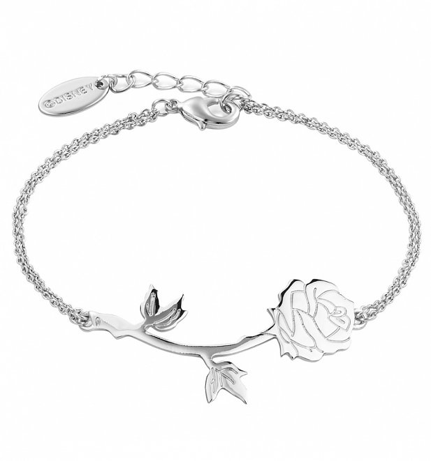 White Gold Plated Beauty & The Beast Rose Bracelet from Disney Couture