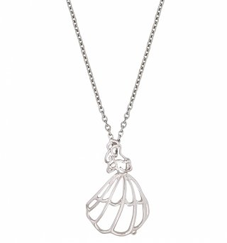 White Gold Plated Beauty And The Beast Belle Outline Necklace from Disney Couture