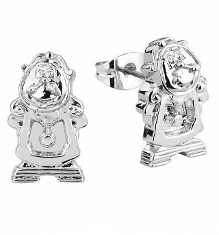 White Gold Plated Beauty And The Beast Cogsworth Stud Earrings from Disney Couture