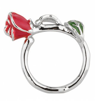 White Gold Plated Beauty & The Beast Enchanted Rose Ring from Disney Couture
