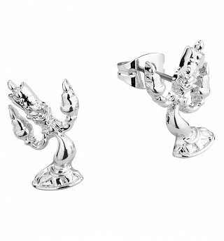 White Gold Plated Beauty & The Beast Lumiere Stud Earrings from Disney by Couture Kingdom