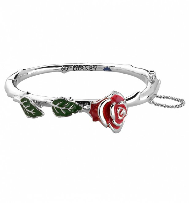 White Gold Plated Beauty & The Beast Enchanted Red Rose Bangle from Disney Couture