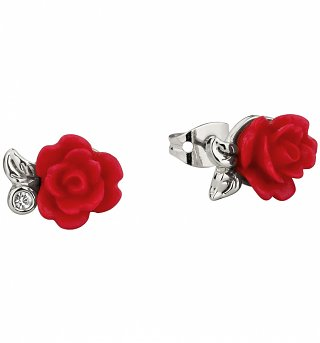 White Gold Plated Beauty & The Beast Enchanted Red Rose Stud Earrings from Disney Couture