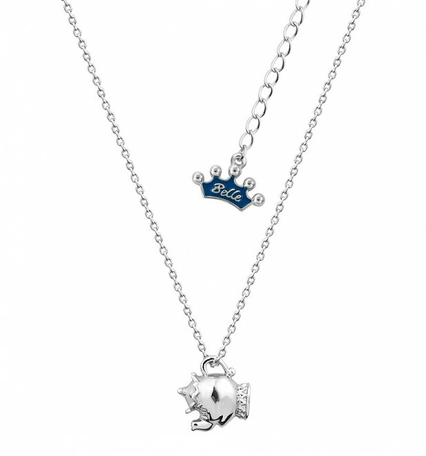 White Gold Plated Beauty & The Beast Mrs Potts Necklace from Disney Couture