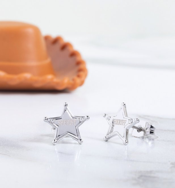 White Gold Plated Crystal Toy Story Sheriff Woody Stud Earrings
