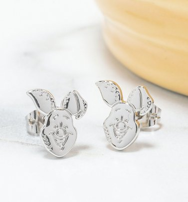 White Gold Plated Disney Winnie The Pooh Piglet Stud Earrings