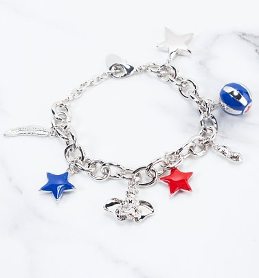 White Gold Plated Dumbo Charm Bracelet from Disney by Couture Kingdom