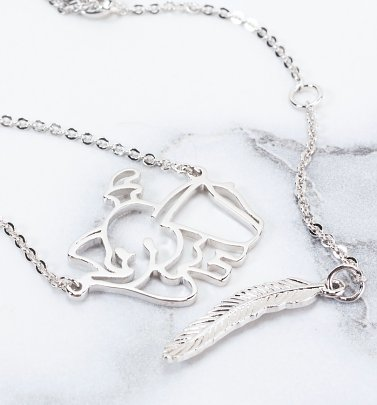 White Gold Plated Dumbo Outline Necklace